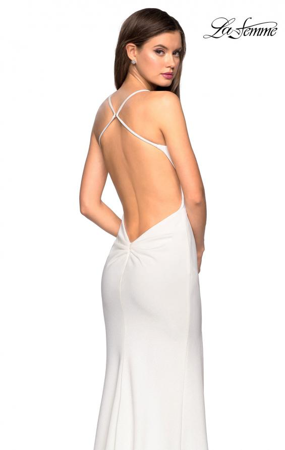 Picture of: Floor Length Jersey Dress with Soft V Neckline, Style: 27657, Back Picture
