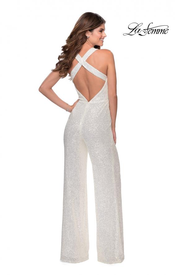 Picture of: Long Sequin Jumpsuit with Criss Cross Back in White, Style: 28719, Back Picture