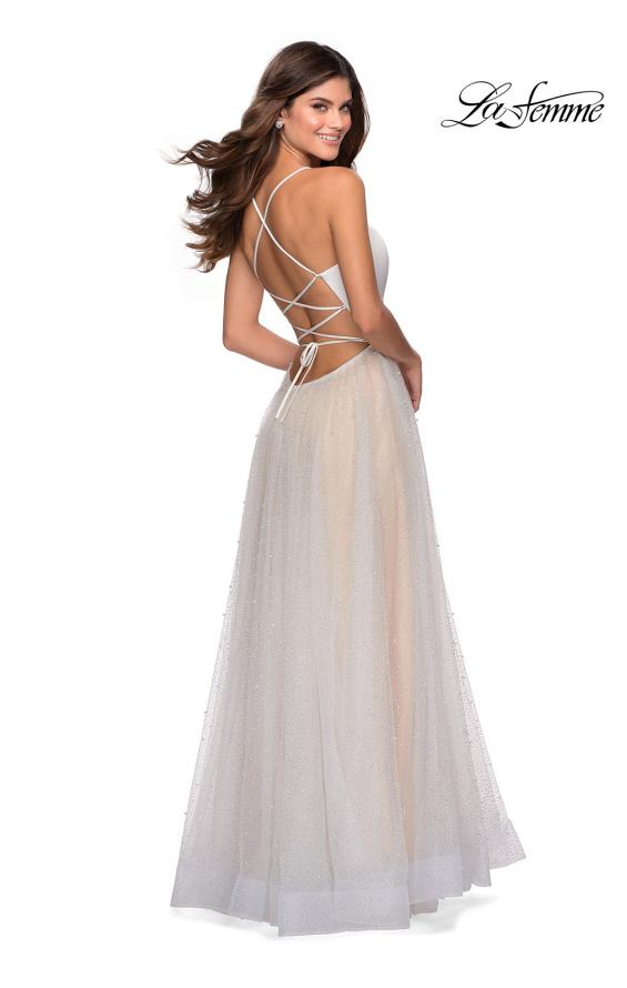 Picture of: White A-line Gown with Pearl Detail and Tie Up Back in White, Style: 28764, Back Picture