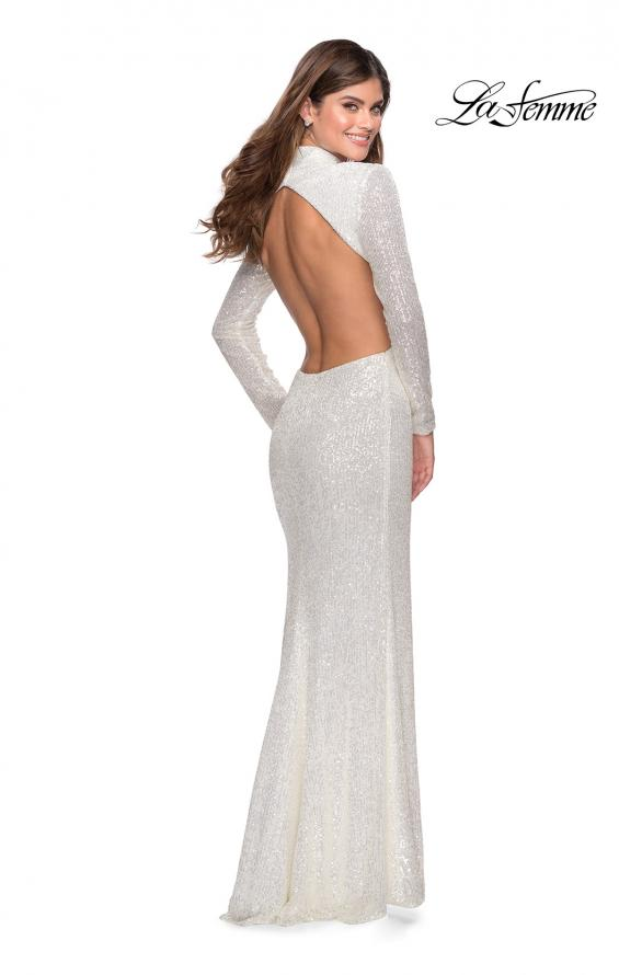 Picture of: Long Sleeve Sequin Prom Dress with Open Back in White, Style: 28771, Back Picture