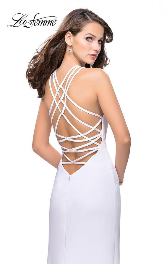 Picture of: Long Satin Halter Prom Dress with Criss Cross Back in White, Style: 25439, Detail Picture 1