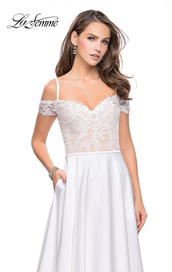 Picture of: Long A-line Prom Dress with Sheer Lace Beaded Bodice, Style: 25479, Detail Picture 1