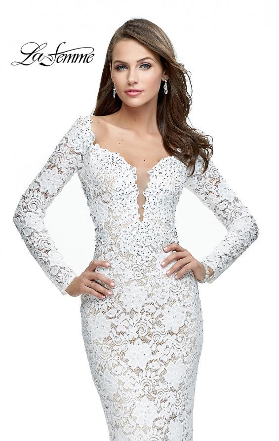 Picture of: Long Sleeve Lace Mermaid Prom Dress with Metallic Beads, Style: 25607, Detail Picture 1