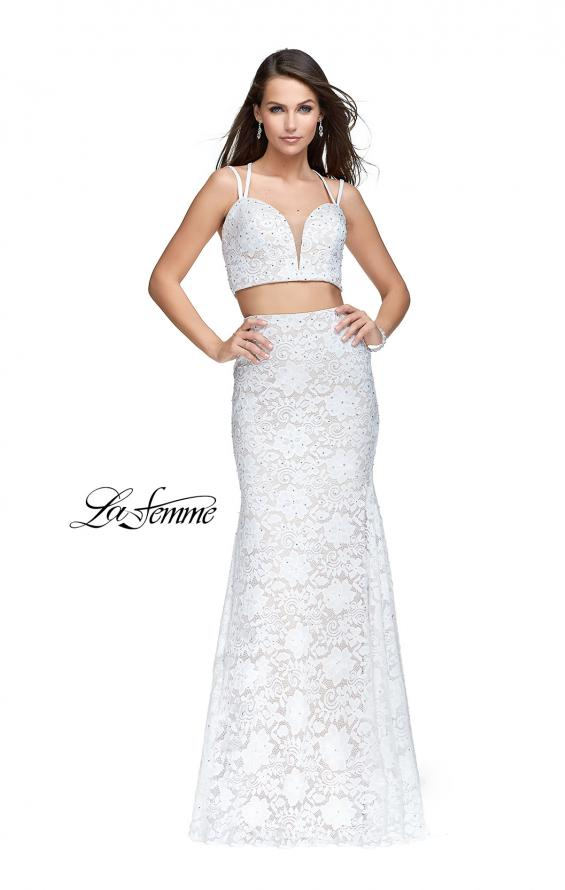 Picture of: Two Piece Mermaid Dress with Beading and Lace in White, Style: 25771, Detail Picture 1