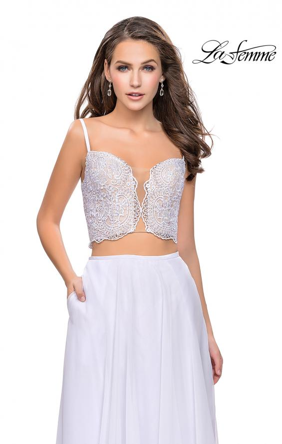 Picture of: Two Piece Gown with Beaded Lace Bodice and A-line Skirt in White, Style: 25830, Detail Picture 1