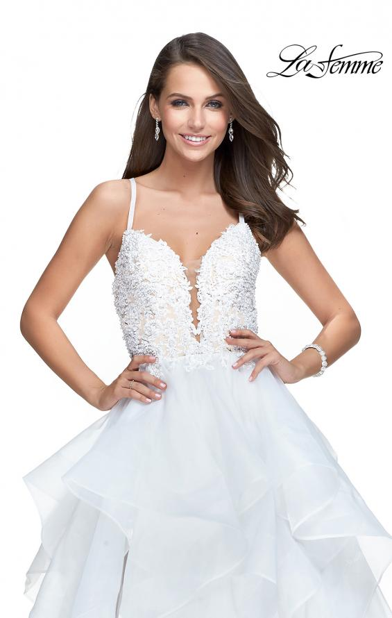 Picture of: Long Tulle Ball Gown with Ruffle Skirt and Lace Bodice in White, Style: 25928, Detail Picture 1