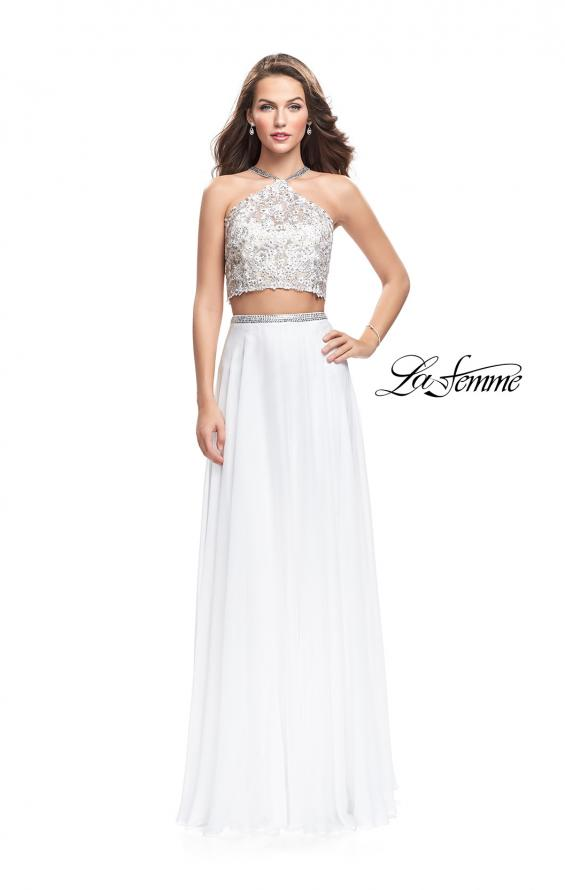 Picture of: Two Piece Dress with Chiffon Skirt and Lace Top in White, Style: 26288, Detail Picture 1