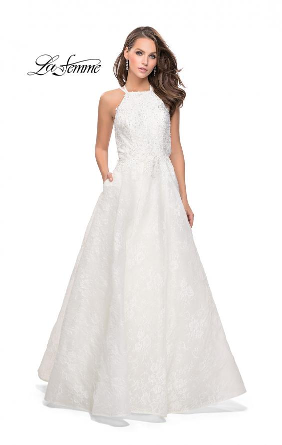 Picture of: High Neck A-line Gown with Beaded Bodice and Pockets in White, Style: 26337, Detail Picture 1