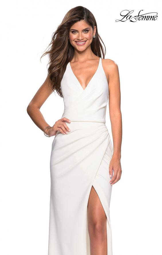 Picture of: Long Jersey Ruched Dress with Side Leg Slit, Style: 27317, Detail Picture 1