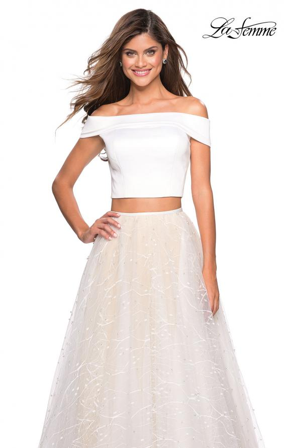 Picture of: Off the Shoulder Two Piece Dress with Textured Skirt, Style: 27478, Detail Picture 1