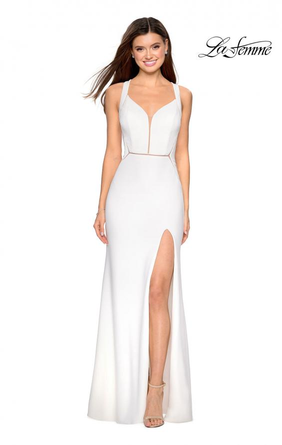 Picture of: Long Black Prom Dress with Illusion Cut Outs in White, Style: 27538, Detail Picture 1