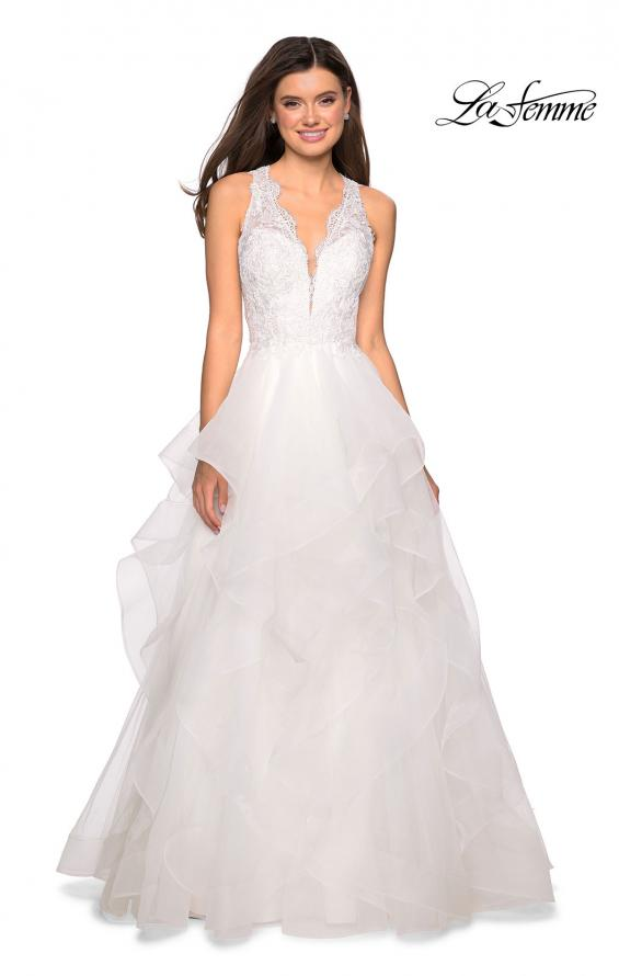 Picture of: Long Layered Tulle Dress with Lace Embellished Bodice in White, Style: 27570, Detail Picture 1