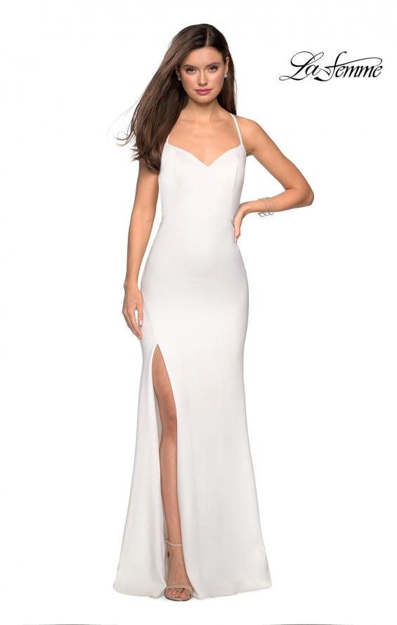 Picture of: Floor Length Jersey Dress with Soft V Neckline, Style: 27657, Detail Picture 1