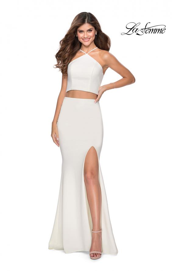 Picture of: Sleek Two Piece Pyramid Neckline Prom Dress in White, Style: 28624, Detail Picture 1