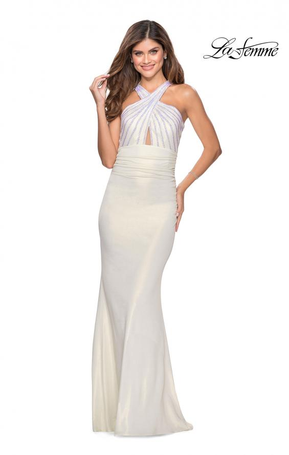 Picture of: Metallic Criss Cross Jersey Dress with Rhinestones in White, Style: 28745, Detail Picture 1