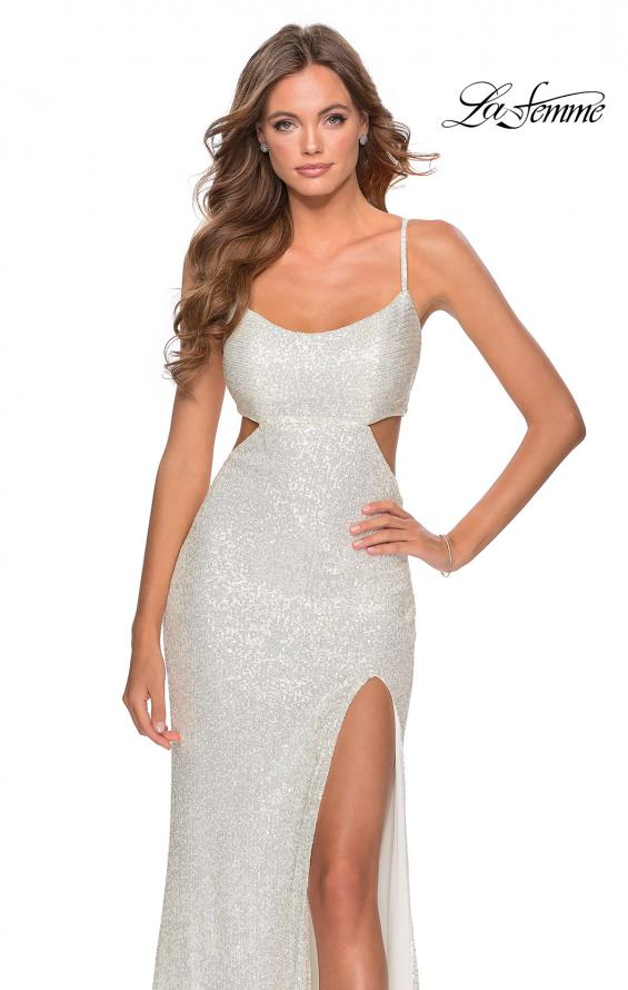 Picture of: Cut Out Sequin Prom Dress with Straight Neckline in White, Style: 28765, Detail Picture 1