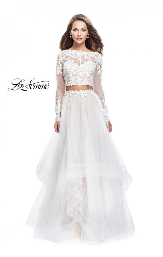 Picture of: Long Two Piece Prom Dress with Tulle Skirt and Lace Top, Style: 25300, Detail Picture 2