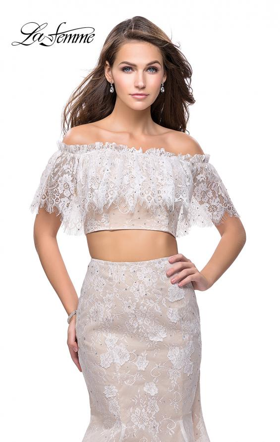 Picture of: Two Piece Mermaid Style Gown with Off the Shoulder Top in White, Style: 25417, Detail Picture 2