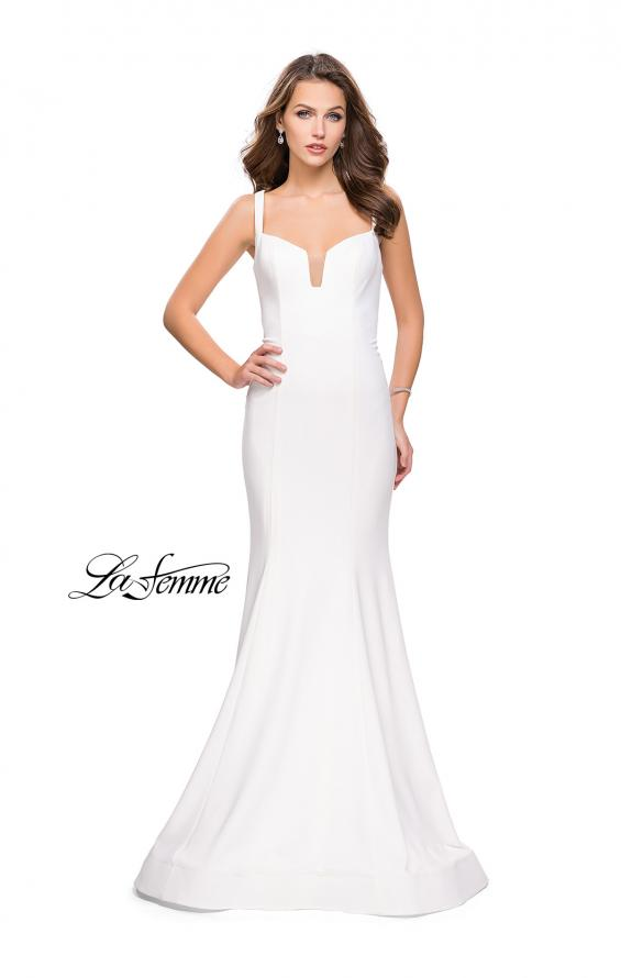 Picture of: Long Form Fitting Jersey Prom Dress with Open Back in White, Style: 25651, Detail Picture 2