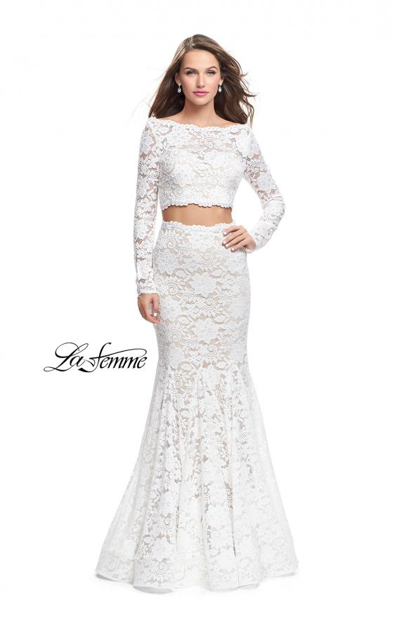 Picture of: Mermaid Style Lace Two Piece Dress with Scalloped Trim in White, Style: 25668, Detail Picture 2