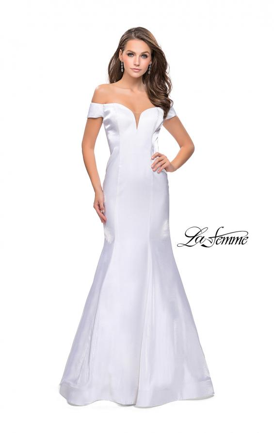 Picture of: Off the Shoulder Satin Prom Dress with Strappy Back in White, Style: 25764, Detail Picture 2