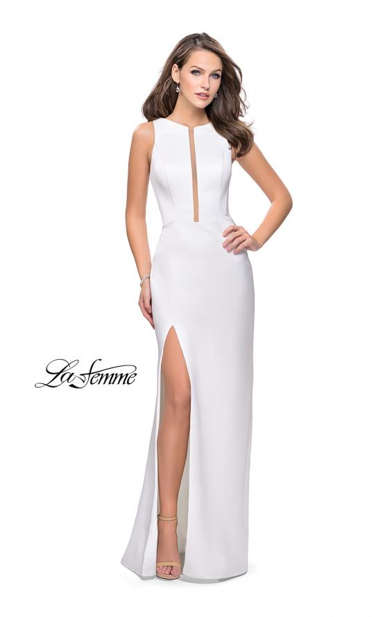 Picture of: Long Satin prom Dress with Plunging Neckline and Slit in White, Style: 26235, Detail Picture 2