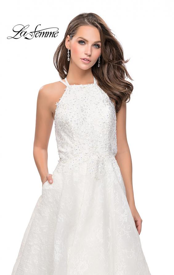 Picture of: High Neck A-line Gown with Beaded Bodice and Pockets in White, Style: 26337, Detail Picture 2