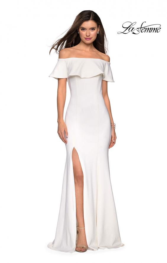 Picture of: Long Off The Shoulder Prom Dress with Side Slit in White, Style: 27096, Detail Picture 2
