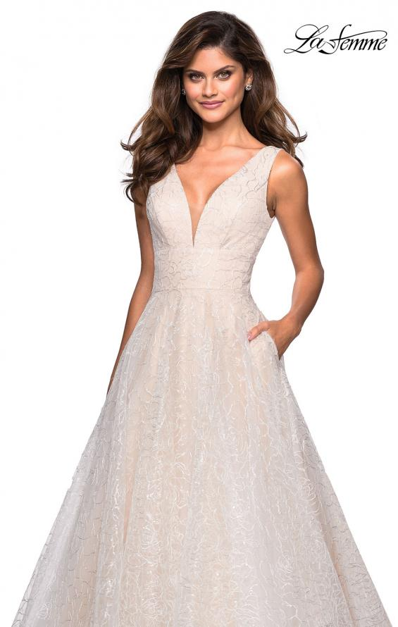 Picture of: Sequin Print Ball Gown with Deep V and Pockets in White, Style: 27323, Detail Picture 2