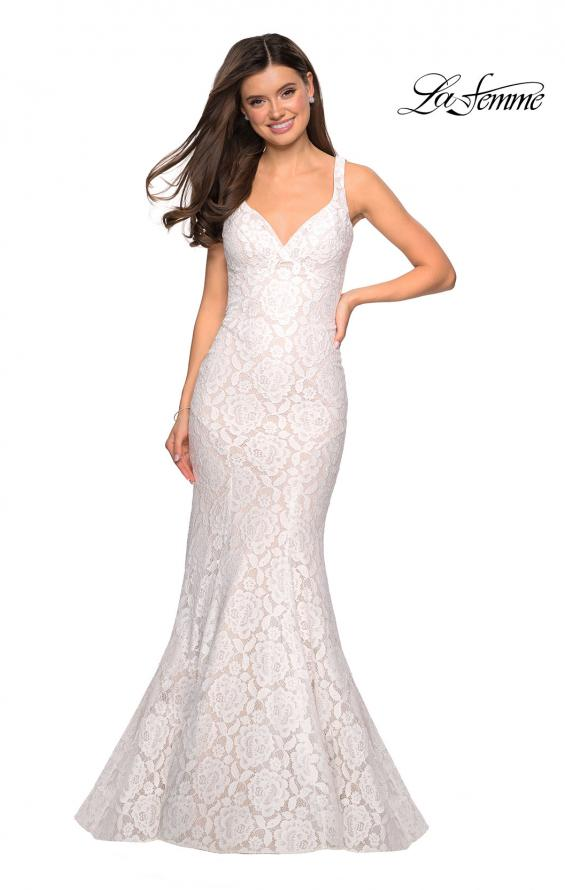 Picture of: Stretch Lace Long Dress with Open Strappy Back in White, Style: 27623, Detail Picture 2