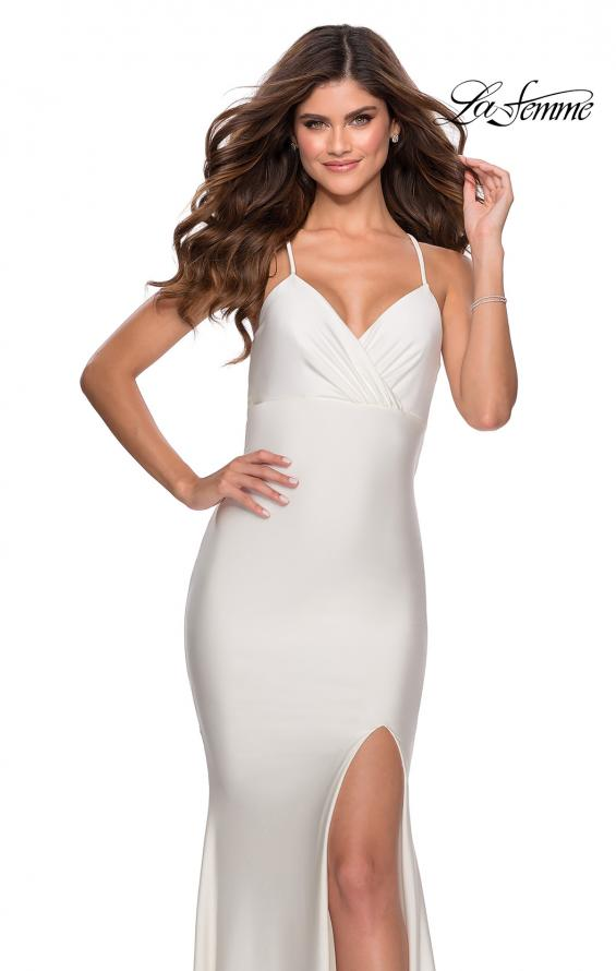 Picture of: Empire Waist Jersey Dress with Lace Up Back in White, Style: 28584, Detail Picture 2