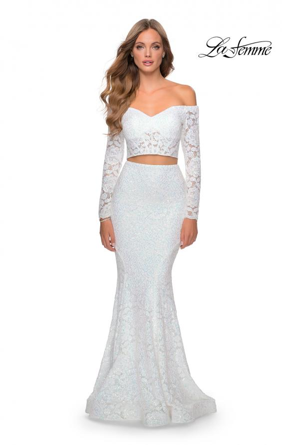 Picture of: Lace Sleeve Lace and Sequin Two Piece Prom Dress in White, Style: 28666, Detail Picture 2