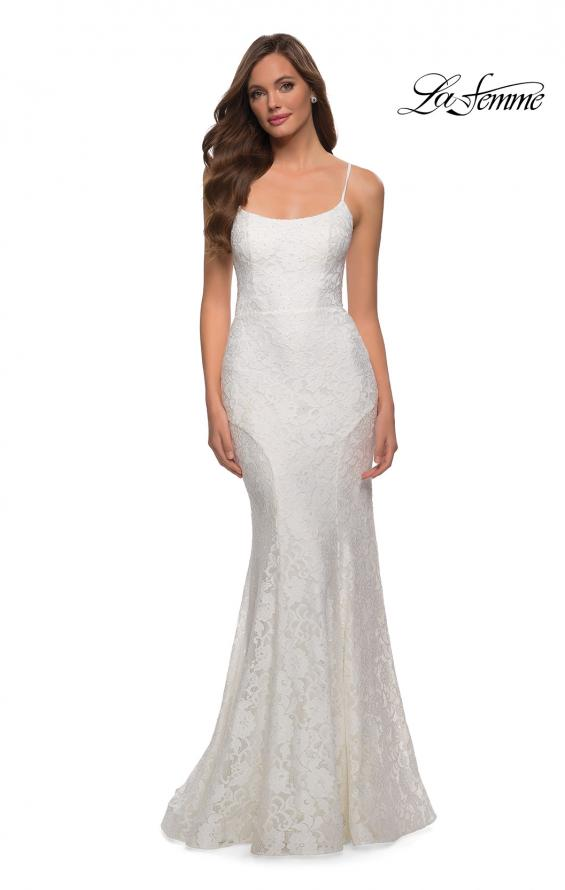 Picture of: Stretch Lace Gown with Lace Up Strappy Back in White, Style 29611, Detail Picture 2
