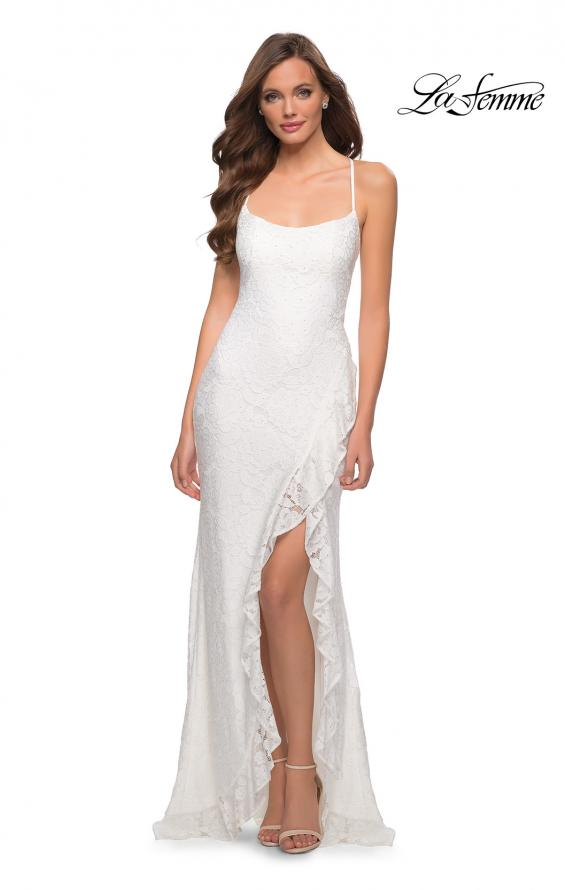Picture of: Stretch Lace Dress with Ruffle Skirt Detail and Slit in White, Style 29650, Detail Picture 2