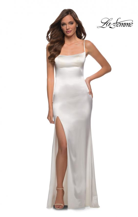 Picture of: Fitted Stretch Satin Dress with Scoop Back in White, Style 29945, Detail Picture 2