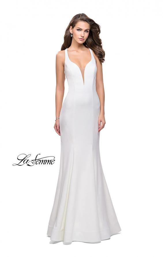 Picture of: Long Jersey Mermaid Dress with Deep V and Strappy Back in White, Style: 25594, Detail Picture 3