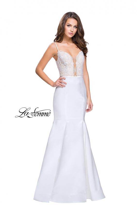 Picture of: Mikado Prom Dress with Lace Beaded Bodice and Low Back in White, Style: 25751, Detail Picture 3
