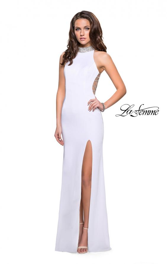 Picture of: Jersey Prom Gown with Metallic Beading and Leg Slit, Style: 25767, Detail Picture 3