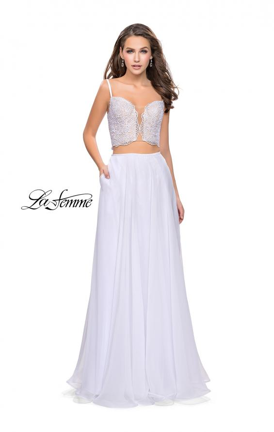 Picture of: Two Piece Gown with Beaded Lace Bodice and A-line Skirt in White, Style: 25830, Detail Picture 3
