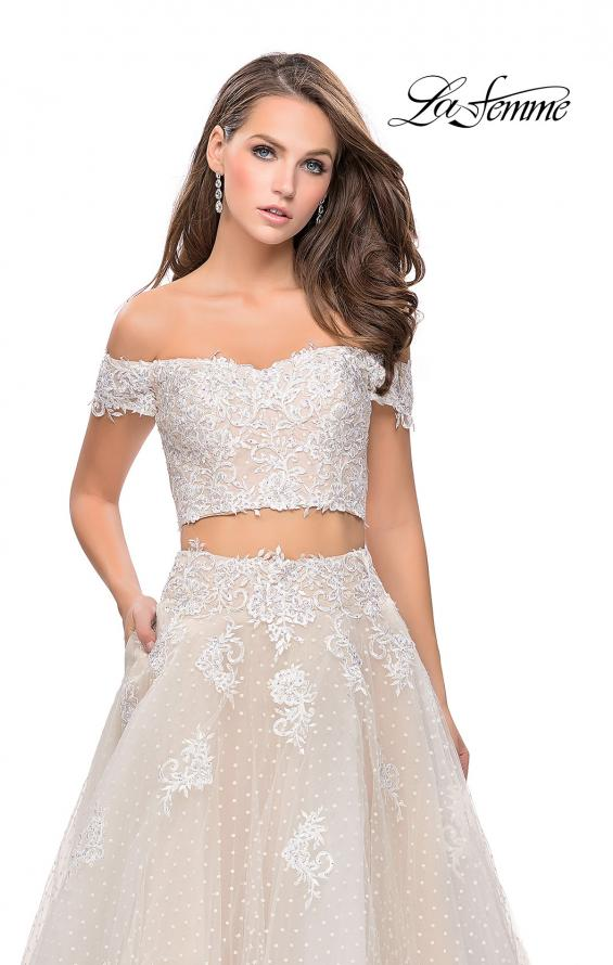 Picture of: Off the Shoulder Two Piece Gown with Polka Dot Print in White, Style: 26110, Detail Picture 3