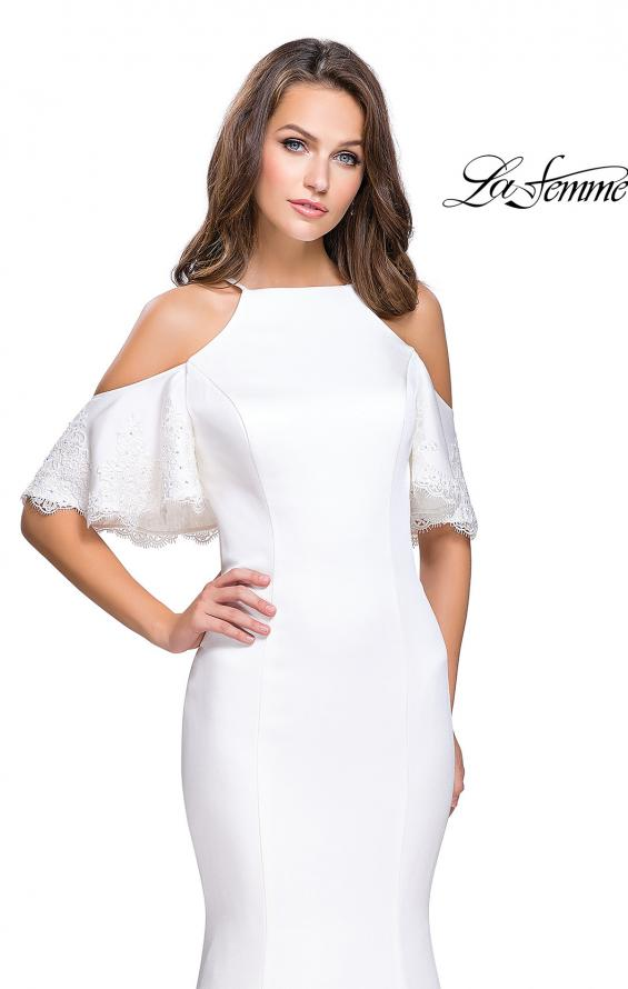 Picture of: Form Fitting Satin Mermaid Dress with Shoulder Cutouts in White, Style: 26145, Detail Picture 3