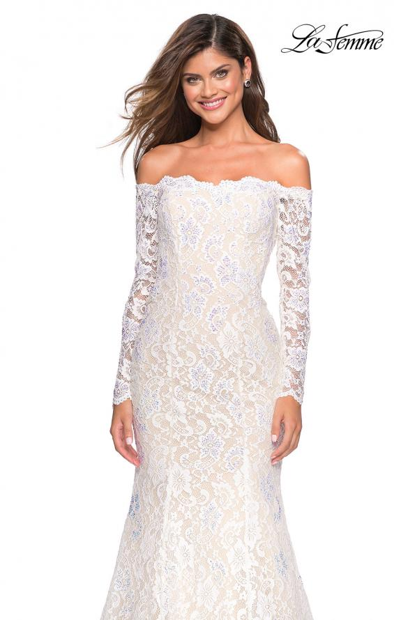 Picture of: Off the Shoulder Long Sleeve Lace Prom Gown, Style: 26393, Detail Picture 3