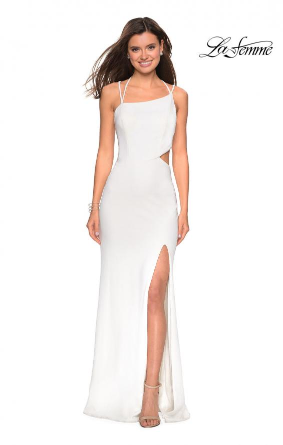 Picture of: Asymmetrical Jersey Prom Dress with Cut Outs in White, Style: 27126, Detail Picture 3