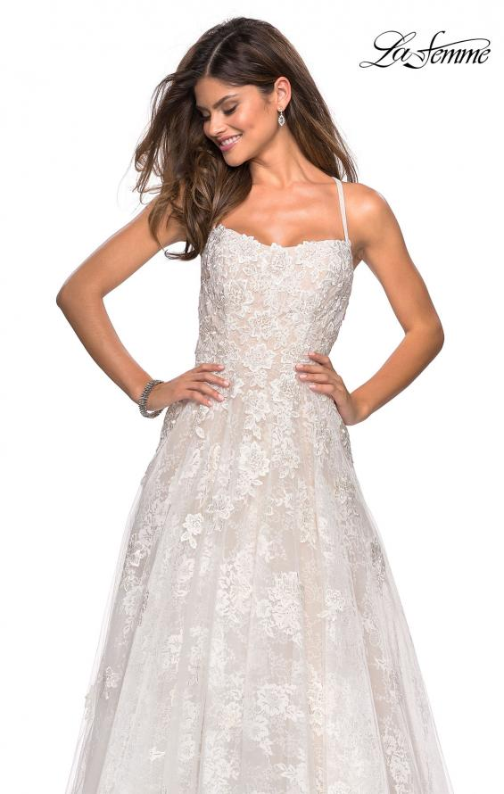 Picture of: Floor Length Lace Dress with Criss Cross Open Back in White, Style: 27448, Detail Picture 3
