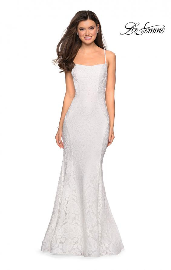 Picture of: Stretch Lace Gown with Square Neckline and Open Back in White, Style: 27565, Detail Picture 3