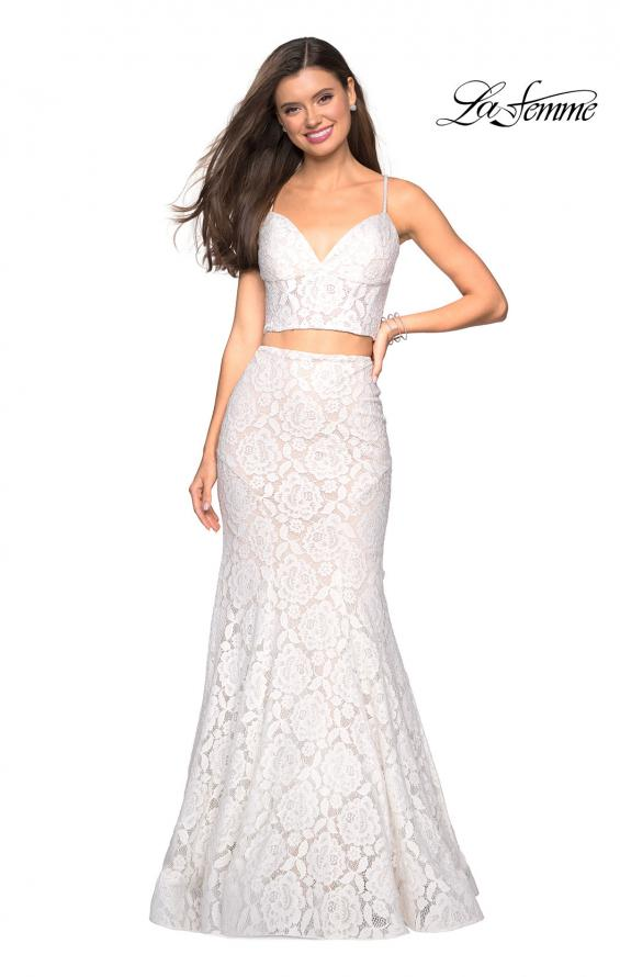 Picture of: Lace Two Piece Gown with Rhinestone Accents, Style: 27589, Detail Picture 3