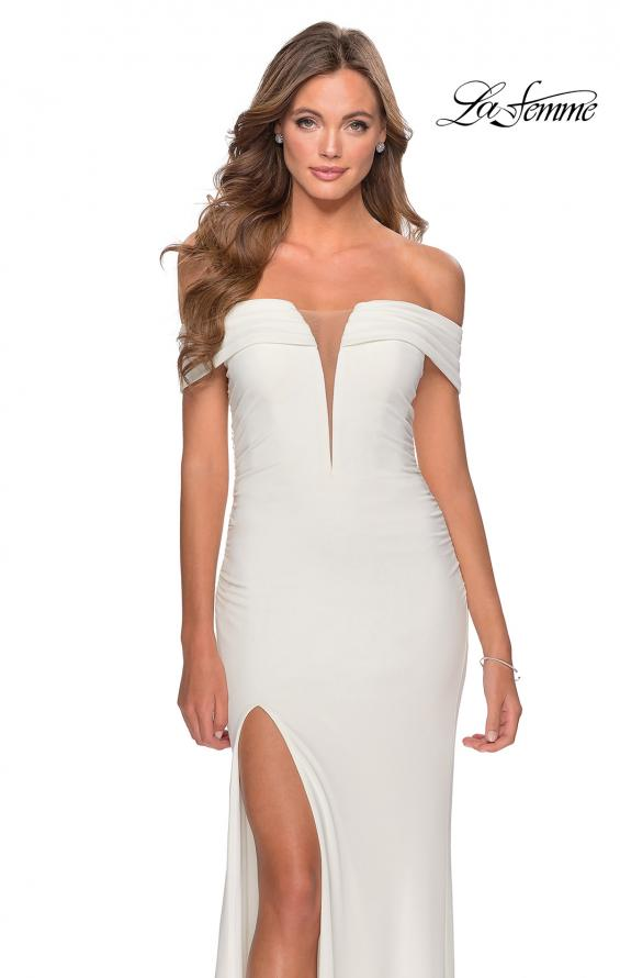 Picture of: Long Off The Shoulder Prom Dress with Deep V-Neck in White, Style: 28132, Detail Picture 3