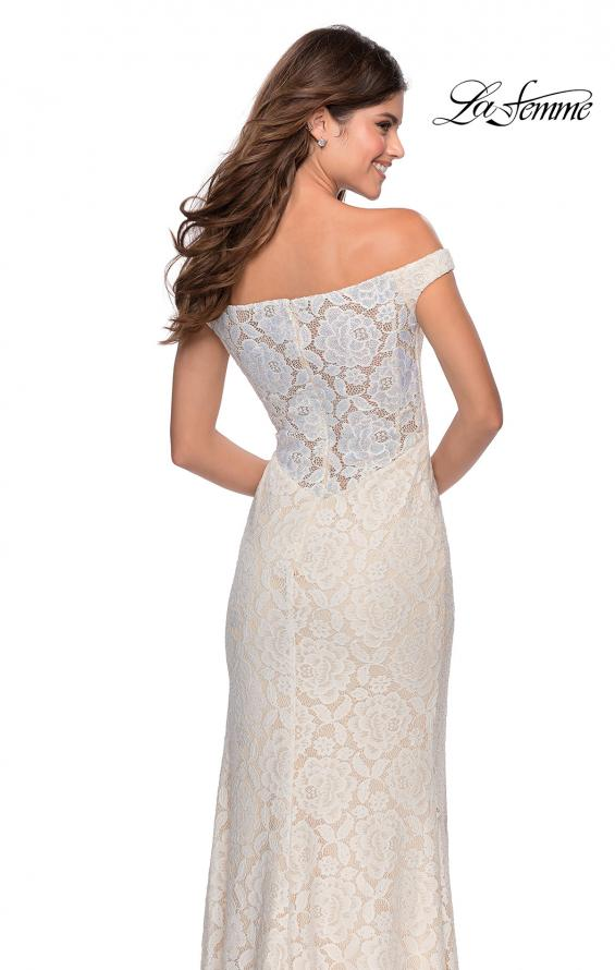 Picture of: Beaded Lace Prom Dress with Off the Shoulder Detail in White, Style: 28301, Detail Picture 3