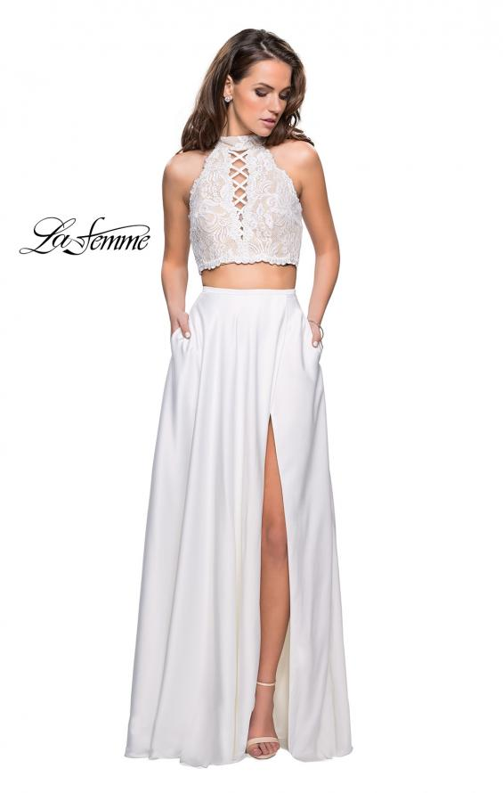 Picture of: Two piece gown with lace up top and satin A line skirt, Style: 25263, Detail Picture 4