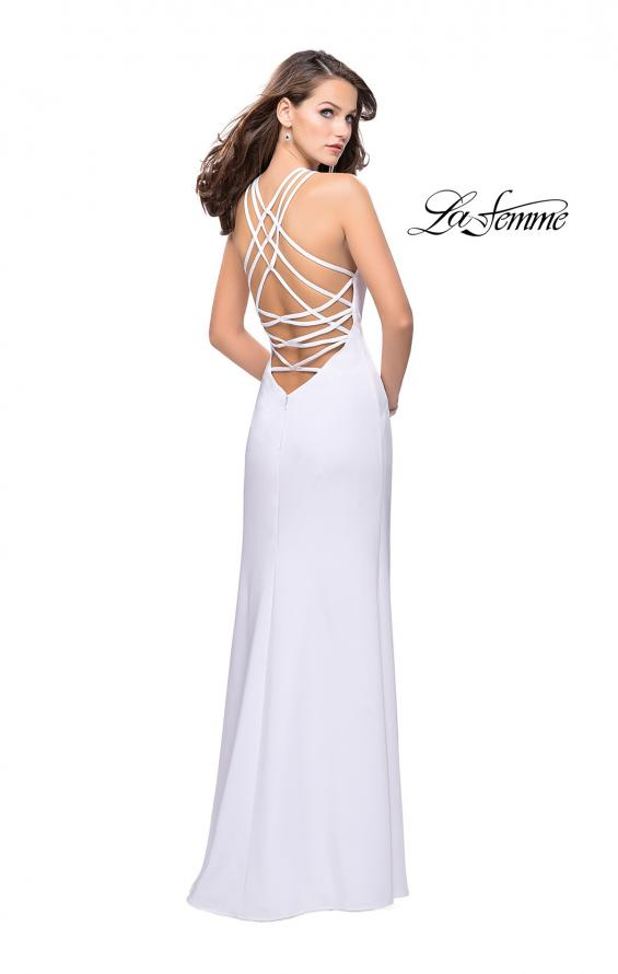 Picture of: Long Satin Halter Prom Dress with Criss Cross Back in White, Style: 25439, Detail Picture 2